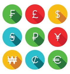 Currency flat icon set vector