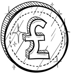 doodle currency coin pound vector image vector image