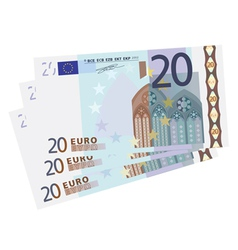drawing of a 3x 20 Euro bills vector image