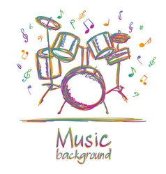 Drums music background with notes vector image