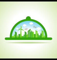 Ecology concept - eco cityscape with platter vector