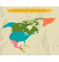 Editable north america map with all countries vector