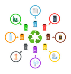 garbage segregation icons vector image