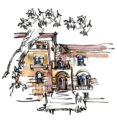 Hand drawn sketch of old street vector