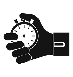 Hand holding stopwatch icon simple style vector