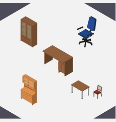 Isometric furniture set of cabinet chair office vector