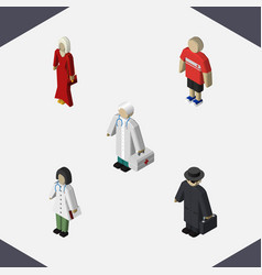 Isometric people set of doctor guy medic and vector
