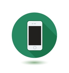 Modern phone icon in circle with shadow vector