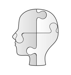 Profile human with puzzle game pieces isolated vector