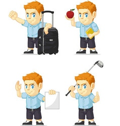 Red Head Boy Customizable Mascot 6 vector image vector image