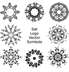 Set hand drawing zentangle mandala logo symbols vector