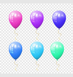 Set of colorful balloons on the transparent vector