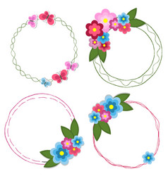 Set of round doodle hand drawn frames with flowers vector