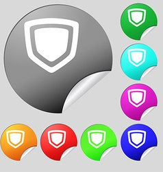 shield icon sign Set of eight multi-colored round vector image vector image