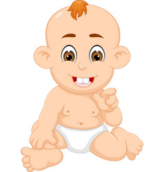 sweet baby cartoon sitting with smile and pointing vector image