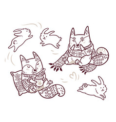 Two cute baby foxes in cozy scarf and sweater in vector