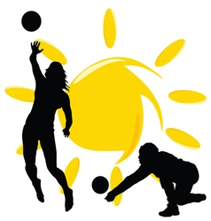 volleyball two girl silhouette vector image vector image