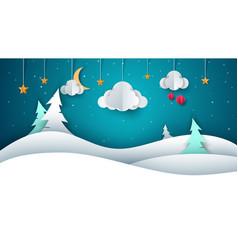 winter landscape - paper vector image vector image
