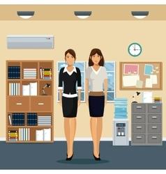 Women office work standing cabinet file cooler vector