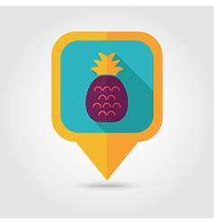 Pineapple flat pin map icon tropical fruit vector