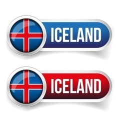 Iceland steel flag button vector
