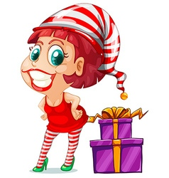 Woman in red and christmas presents vector