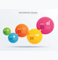 Infographics circle number 5 step template vector
