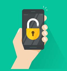 Unlocked smartphone  concept of security vector