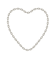 Silver chain in shape of heart vector