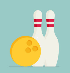 Bowling ball and pins isolated on background vector