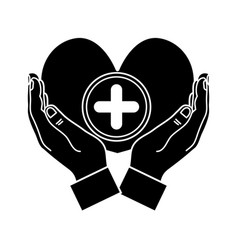 contour hands with heart medicine symbol to help vector image
