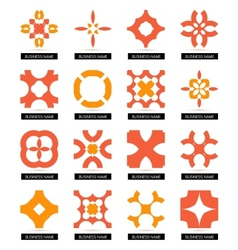 Flat geometric business symbols icon set vector