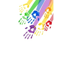 Vertical background with multicolored paint hands vector