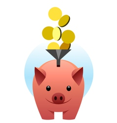 Piggy bank catches coins vector