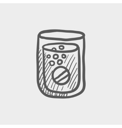 Tablet into a glass of water sketch icon vector