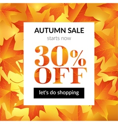 Autumn sale background with maple leaves vector