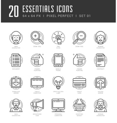 Flat line icons set trendy modern thin linear vector