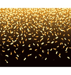 Golden confetti falls isolated over black vector