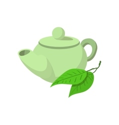Teapot green tea icon cartoon style vector