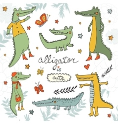 Alligator is cute colourful hand drawn set of vector