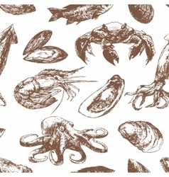 Hand drawn sketch pattern with seafood vector