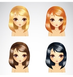 Straight short hair set vector