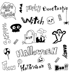 Cute doodle halloween on white backgrounds vector