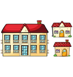 A big apartment and two small houses vector image vector image