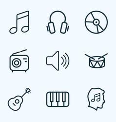 Audio outlines set collection of earphones vector