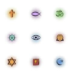Beliefs icons set pop-art style vector