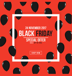 black friday poster square white frame with black vector image