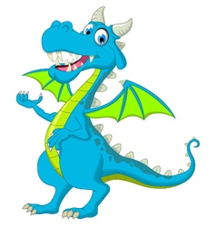 Blue dragon cartoon waving vector