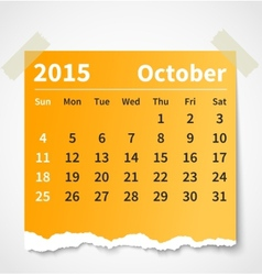 Calendar october 2015 colorful torn paper vector image vector image