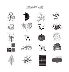 collection of different elements and shapes vector image vector image